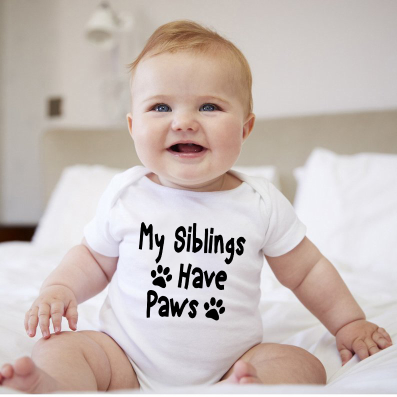 White Bodysuit Newborn Onesie My Siblings Have Paws Letter Print Short Sleeves Baby Bodysuits Infant Clothes Baby Onesie