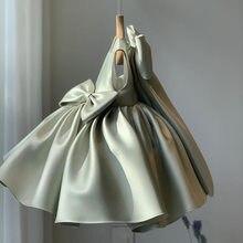Flower Silky Dress For Girls Birthday Party Wedding Bowknot Tutu Girl Dress Baby Girl Princess Vestido Christmas Costume