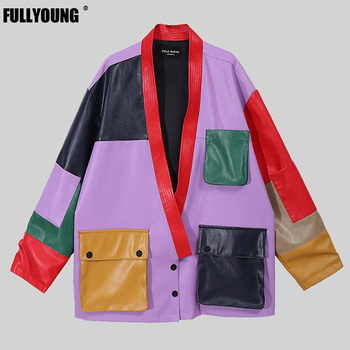 Fullyoung 2021 Latest Loose Fit Big Size Jacket Pu Leather Split New V-Collar Long Sleeve Women Coat Fashion Tide Spring Autumn 2020 spring autumn new lapel long sleeve loose fit shirt fashion big size women blue striped irregular splicing blouse tide