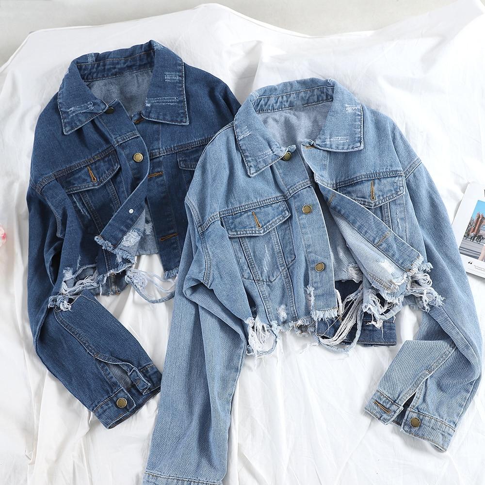Tassel Frayed Denim Bomber Jacket Women Autumn Harajuku Ripped Holes Jeans Outerwear Vintage Washed Blue Basic Coat