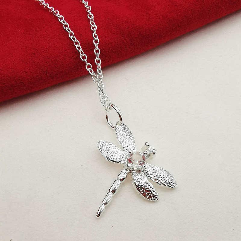 Silber 925 Schmuck Sets Für Frauen Dame Libelle Armband Halskette Ohrringe Ring 4 stücke Set Party Zubehör Großhandel Geschenke