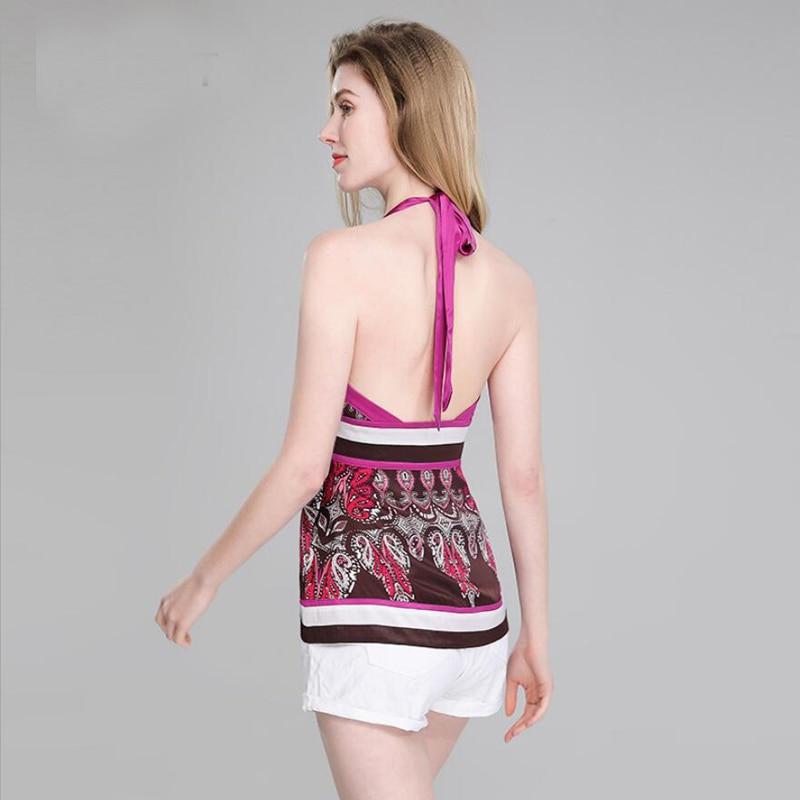 Bogeda nouveau été soie Camisole femmes dos nu mode imprimé licou gilet 100 soie Blouse Sexy Club fête Pure soie débardeur dame haut - 2