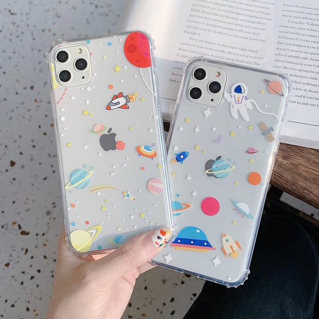 LOVECOM Cartoon Planet Shockproof Phone Case For iPhone 11 Pro Max XR XS Max 7 8 Plus X Soft TPU Clear Cute Back Cover Coque
