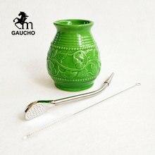 1 ensemble/lot Gaucho Yerba Mate calebasse gourdes 250 ML Kits de tasse en céramique avec paille Bombilla inoxydable et brosse de nettoyage offre spéciale
