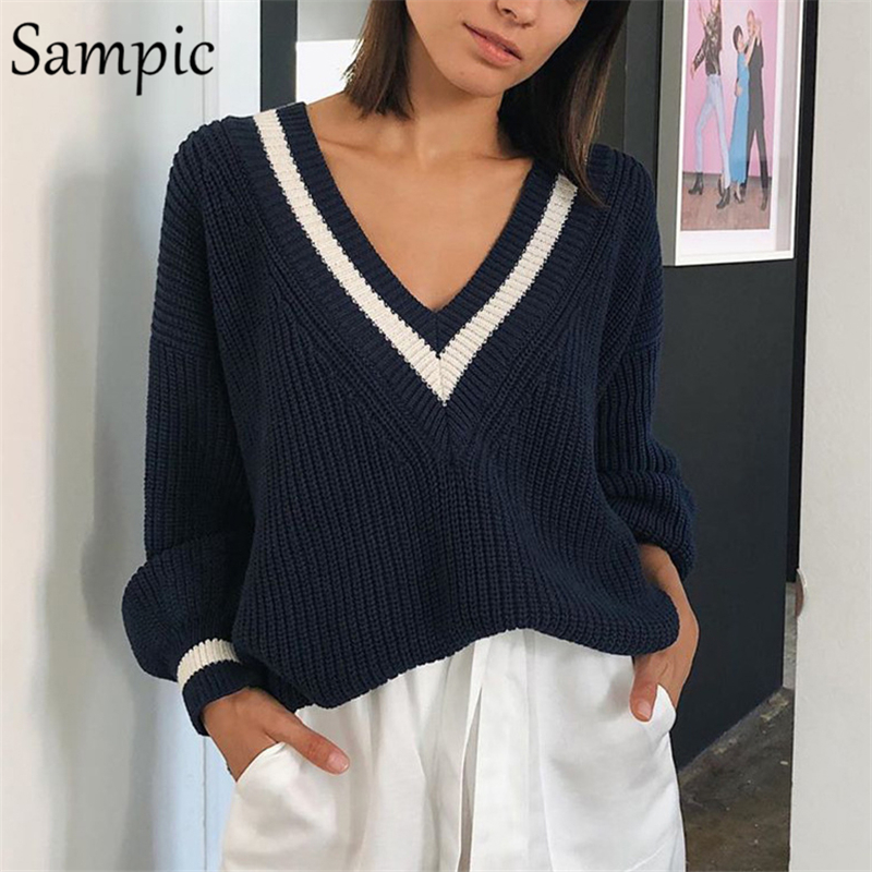 Sampic Winter Women Korean Preppy Style Knitted Basic Sweater Pullover Long Sleeve Beige Casual Sweater Jumpers