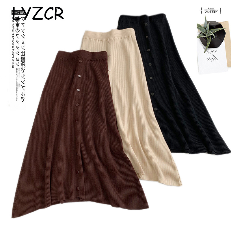 Midi Long Winter Knitted Skirt Women A Line High Waist Button Skirts For Women Elegant Skirts Female Ladies Maxi Midi Skirt Saia