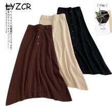 Midi longue hiver tricoté jupe femmes une ligne taille haute bouton jupes pour les femmes jupes élégantes femme dames Maxi Midi jupe Saia