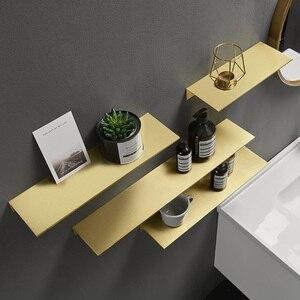 Image 5 - Матовая золотая металлическая полка для ванной, настенная полка для хранения, мочалка, большая настенная полка для хранения 30/40/50/60 см, держатель длины