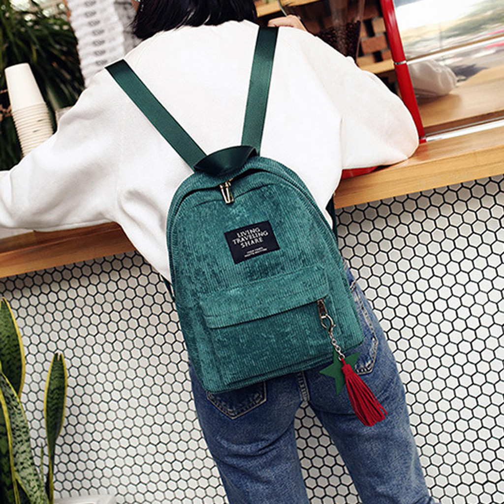 Fashion Woman Mini Simple Corduroy Backpacks Lady Campus Style Pure Color Big Capacity Leisure Double Shoulder Bag
