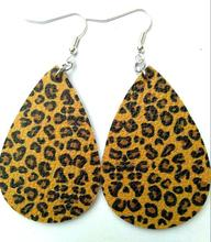 цена на New Leopard Print PU Leather Drop Earrings for Women Leopard Print Dangle Drop Teardrop Leather Earring