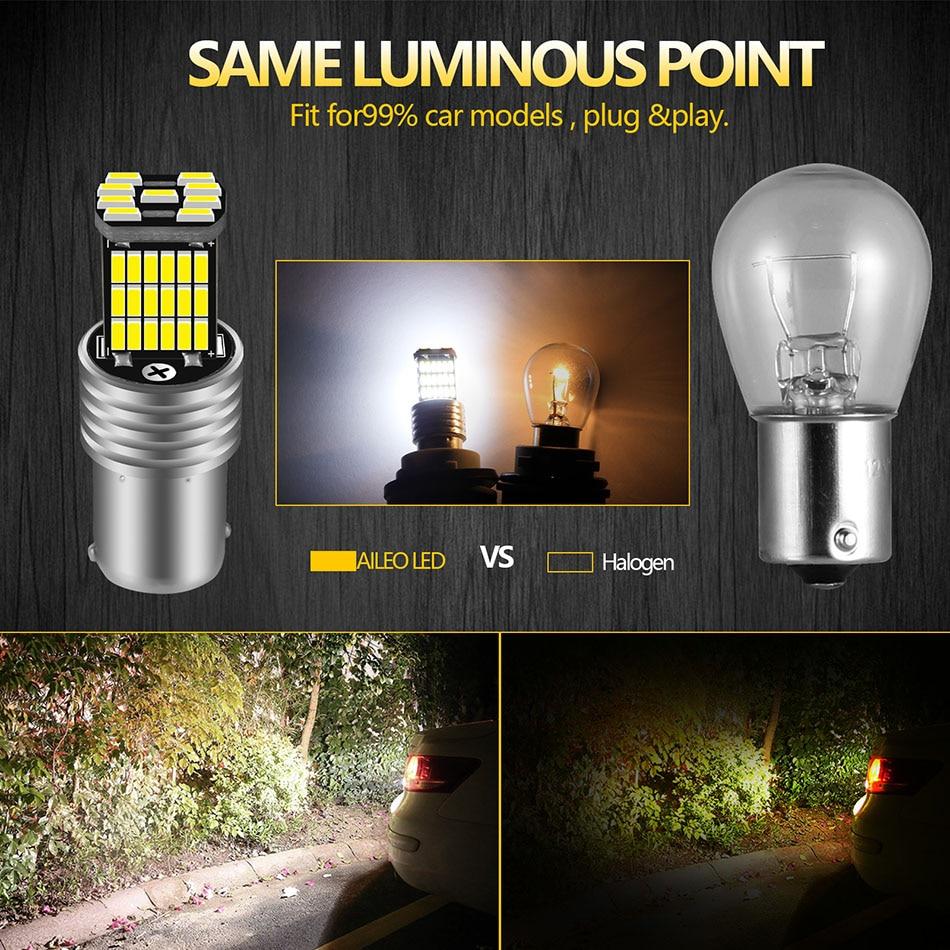 AILEO 2PCS 1156 BA15S P21W S25 7506 LED Bulbs High Power 45pcs 4014SMD Super Bright 1200LM Replace For Car Reversing Light White 2