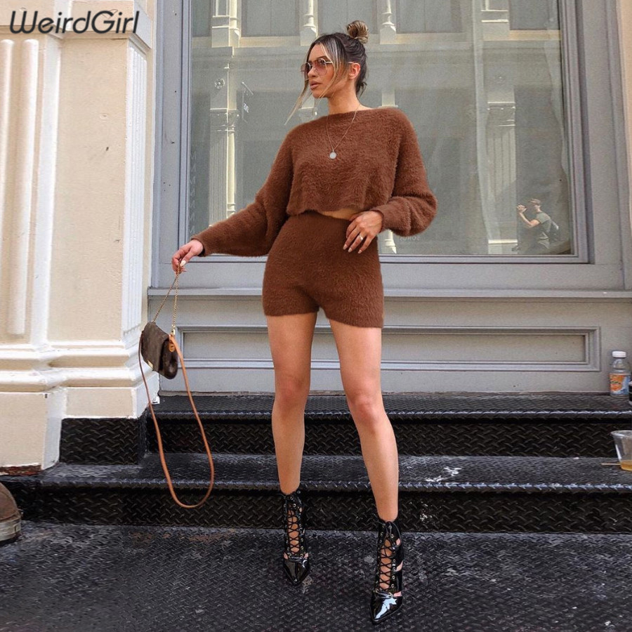 Weirdgirl Women Sets Two Pieces Faux Fur Coat Full Sleeve Warm Short Loose Clothes 2019 Autumn Winter High Waist Casual Shorts