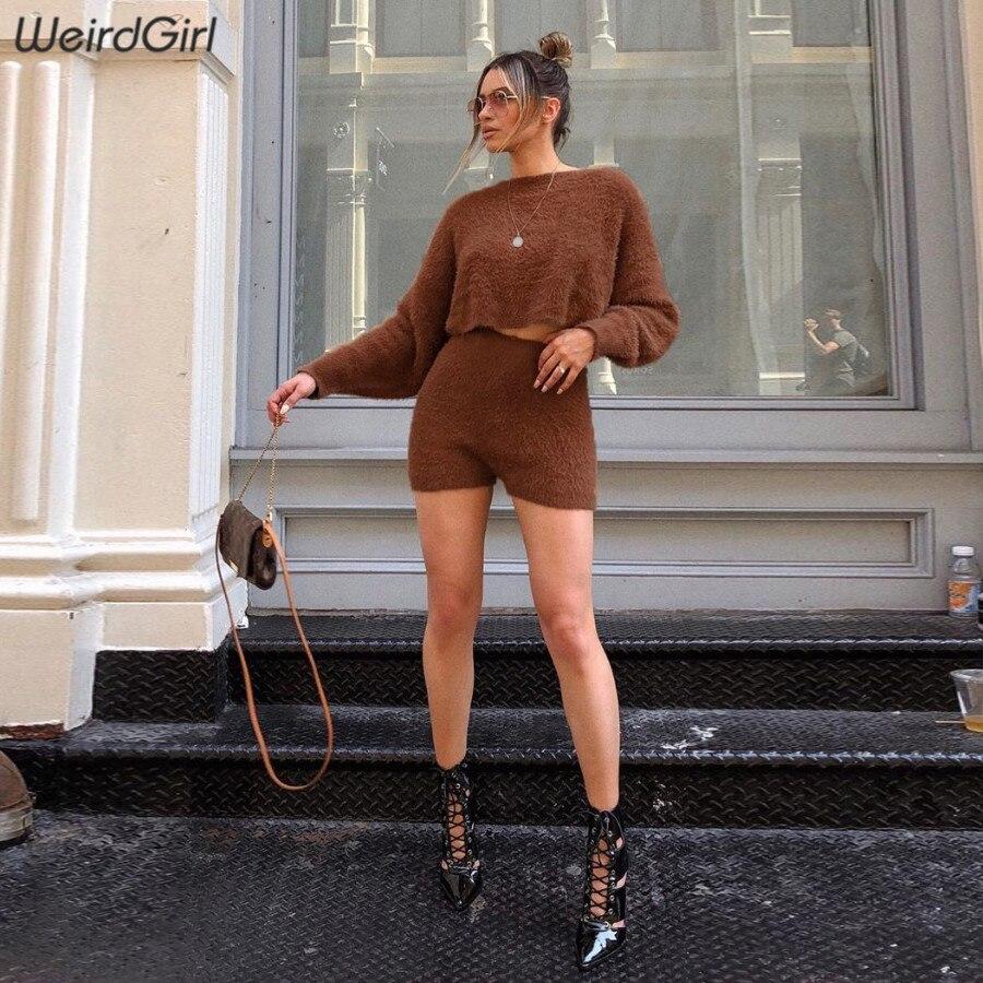 Weirdgirl Women Sets Two Pieces Faux Fur Coat Full Sleeve Warm Short Loose Clothes 2019 Autumn Winter High Waist Casual Shorts