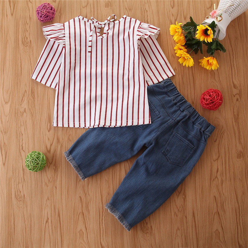 2Piece/1-6Years/Spring Baby Girls Outfits Fashion Casual Stripe T-shirt+Loose Jeans Children Clothes Kids Clothing Sets BC1388 3