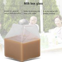 Tableware Milk Glass cup milk box coffee cups creative juice bottle clear glass gifts Home kitchen Handmade Crafts