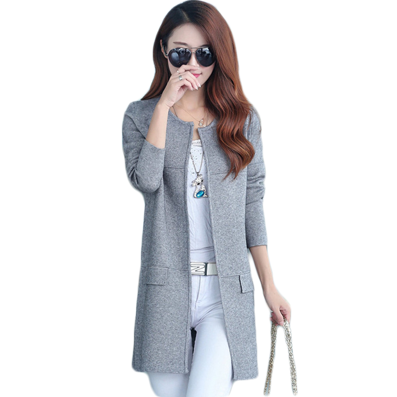 2019 Spring Autumn O Neck Women Knitting Cardigan Plus Size Fashion Women Long Sweater Coat Female Casual Solid Knit Sweaters