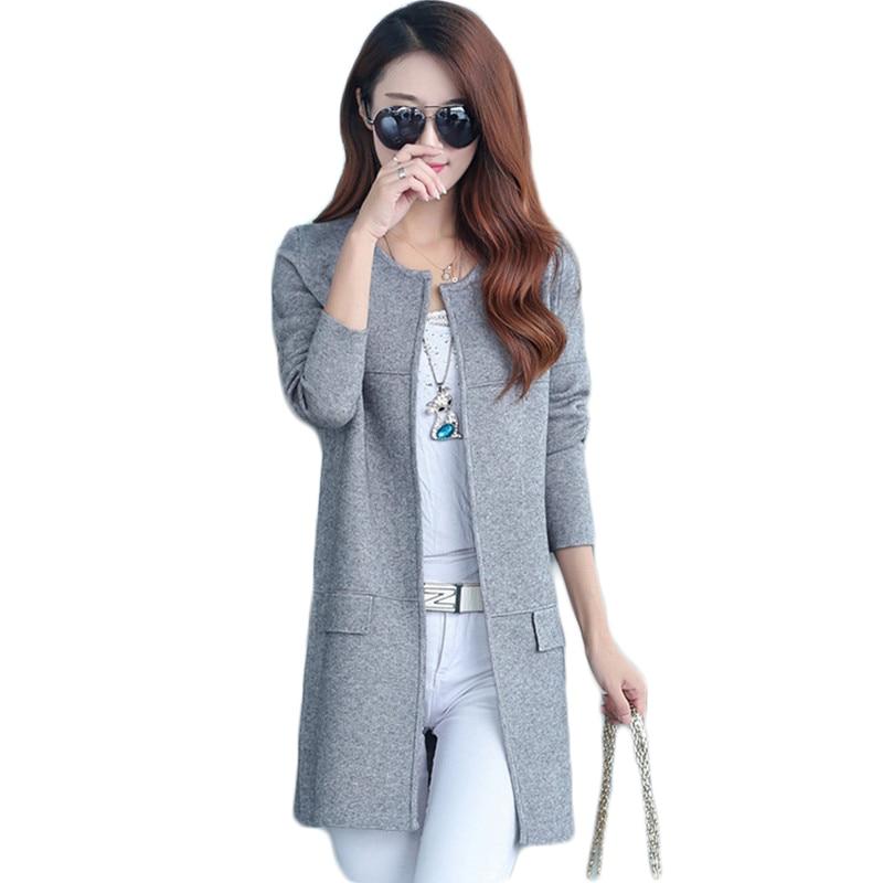 2019 Spring Autumn O Neck Women Knitting Cardigan Plus Size Fashion Women Long Sweater Coat Female Casual Solid Knit Sweaters