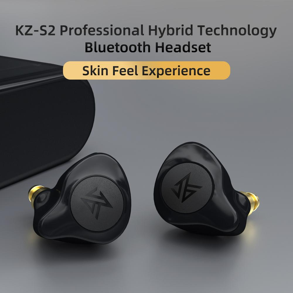 lowest price KZ S2 True Wireless TWS Earphones Bluetooth v5 0 Hybrid 1DD 1BA Game Earbuds Touch Control Noise Cancelling Sport Headset