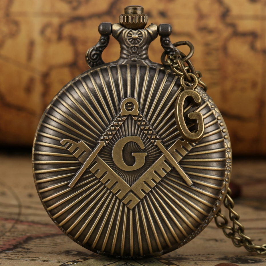 Punk Freemasonry Masonic Design Antique Bronze Quartz Fob Clock Pendant Freemason  Pocket Watch Chain Necklace With G Accessory