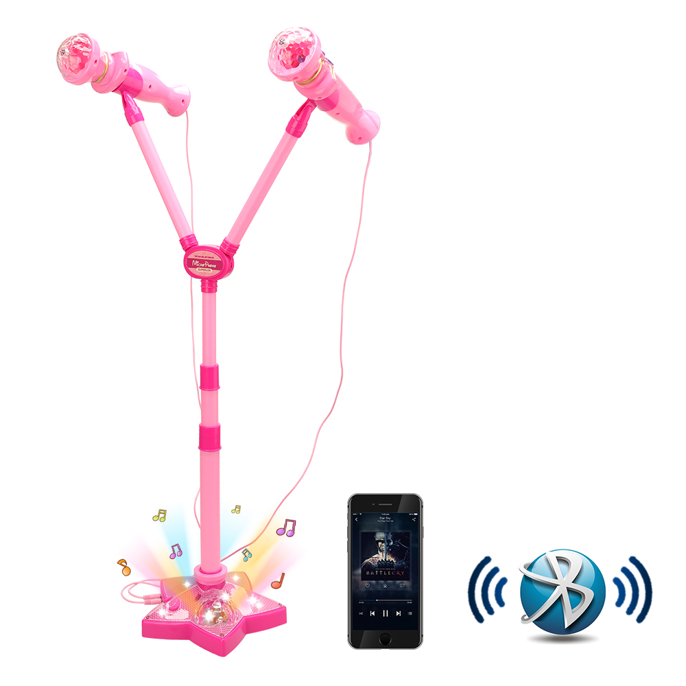 Children Karaoke Microphone Toy Musical Instrument Microphone Karaoke Device Portable Speak Adjustable Stage Stand Toys For Girl