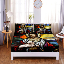 Mattress-Cover Bed-Sheet Pillowcases Print with Elastic-Band Four-Corners Retro-Style