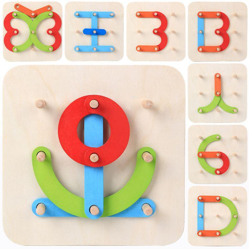 Children's Wooden Numbers And Letters Puzzles Creative And Varied Shapes And Plug-in Building Blocks Set Of Pillar Toys