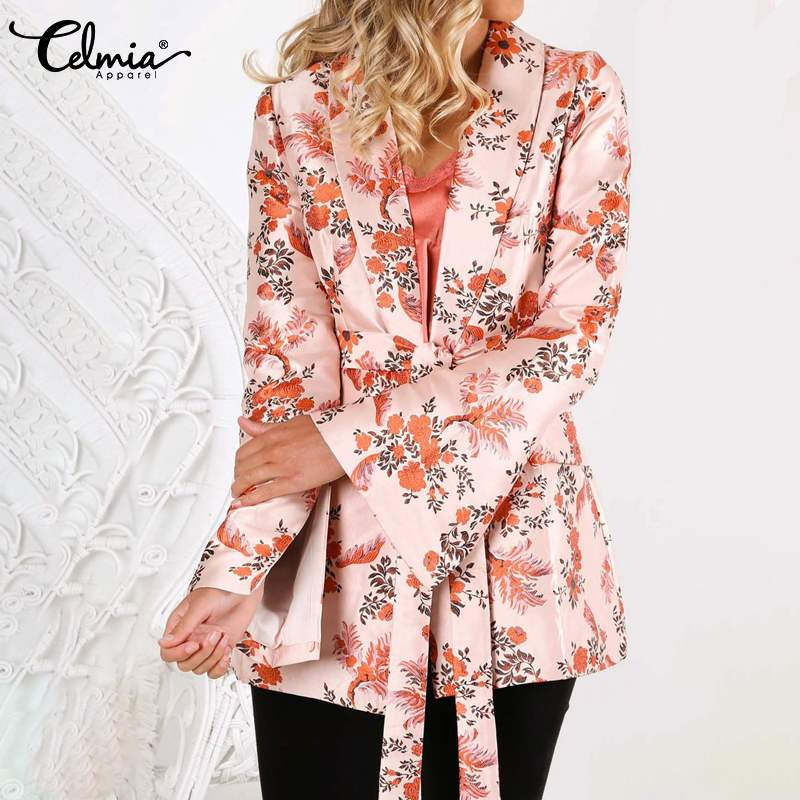Women Vintage Floral Print Blazer Celmia Autumn Long Sleeve Coat Casual Outerwear Office Jackets Sashes Femininas Tops Plus Size