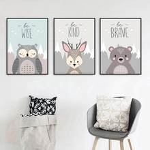Lovely Cartoon Fox Owl Deer Nordic Frameless Canvas Painting Art Print Poster Picture Wall Baby Room Children Bedroom Home Decor(China)