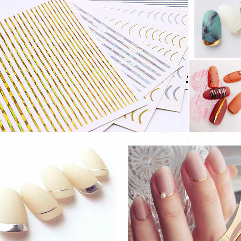 Goud 3D Nail Sticker Curve Streep Lijnen Nagels Stickers Gradient Zelfklevende Striping Tape Nail Foil Nail Art Stickers Decals Zilver