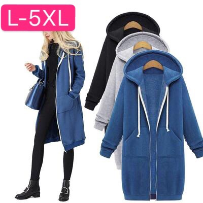 Women Hoodies Sweatshirts Plus Size Autumn Winter Women Casual Thick Velvet Fleece Warm Outwear Long Sleeve Zipper Coat Jackets