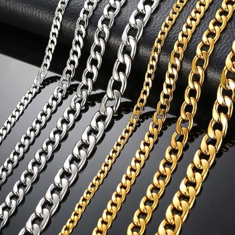 シルバーカラーゴールドカラー固体ネックレス縁石チェーンリンク男性チョーカーステンレス鋼男性女性のアクセサリーのファッション