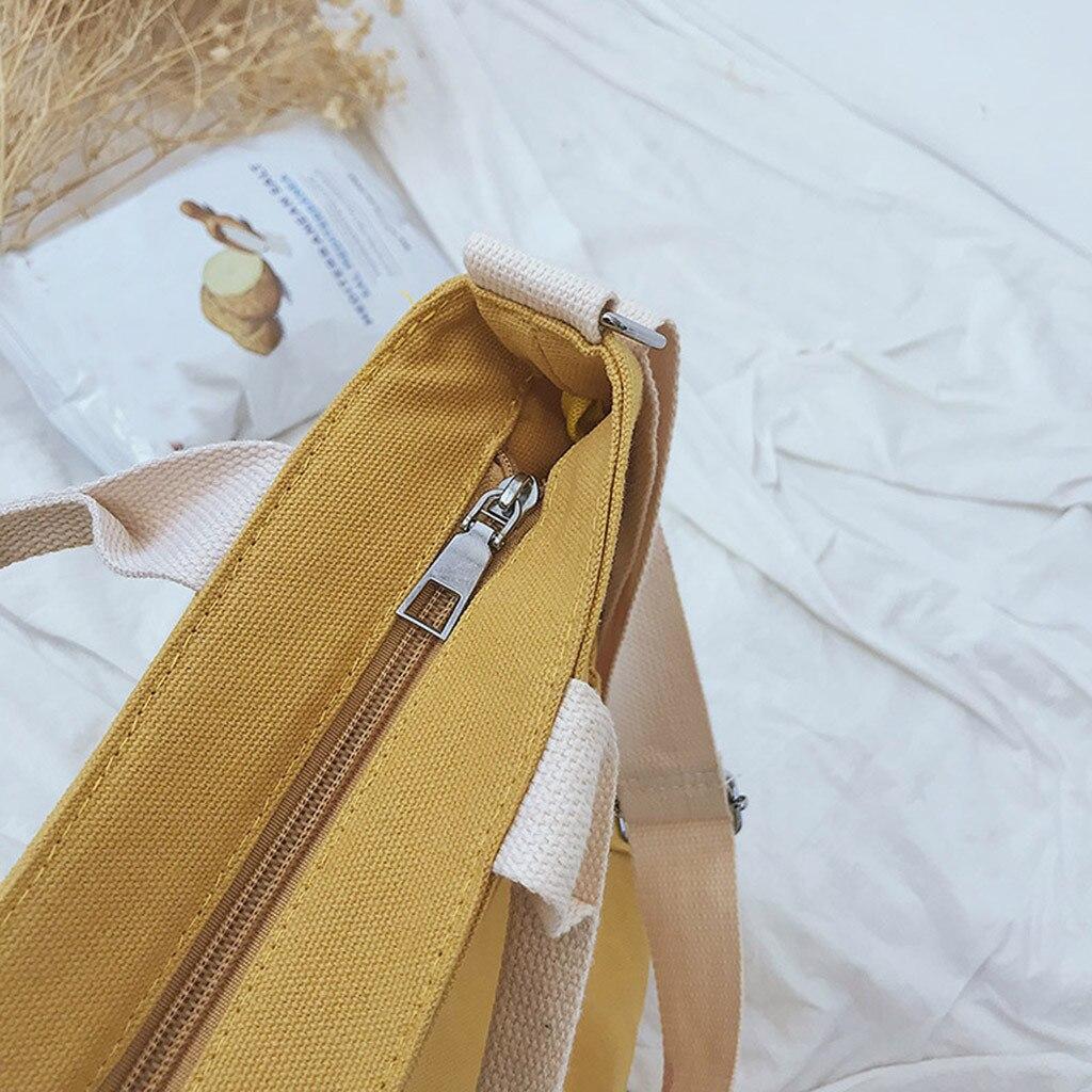 Canvas Handbags Women Shopping Bags Reusable Shopping Girl Casual Totes Beach Patchwork Crossbody Book Bag Female 820