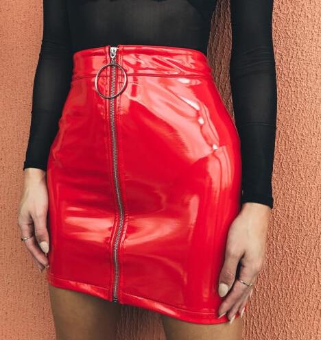 Sexy High Waist PU Leather Skirt Plastic Women Pvc Black Bodycon Latex Skirt Autumn Streetwear Short Saddle Waist Skirts