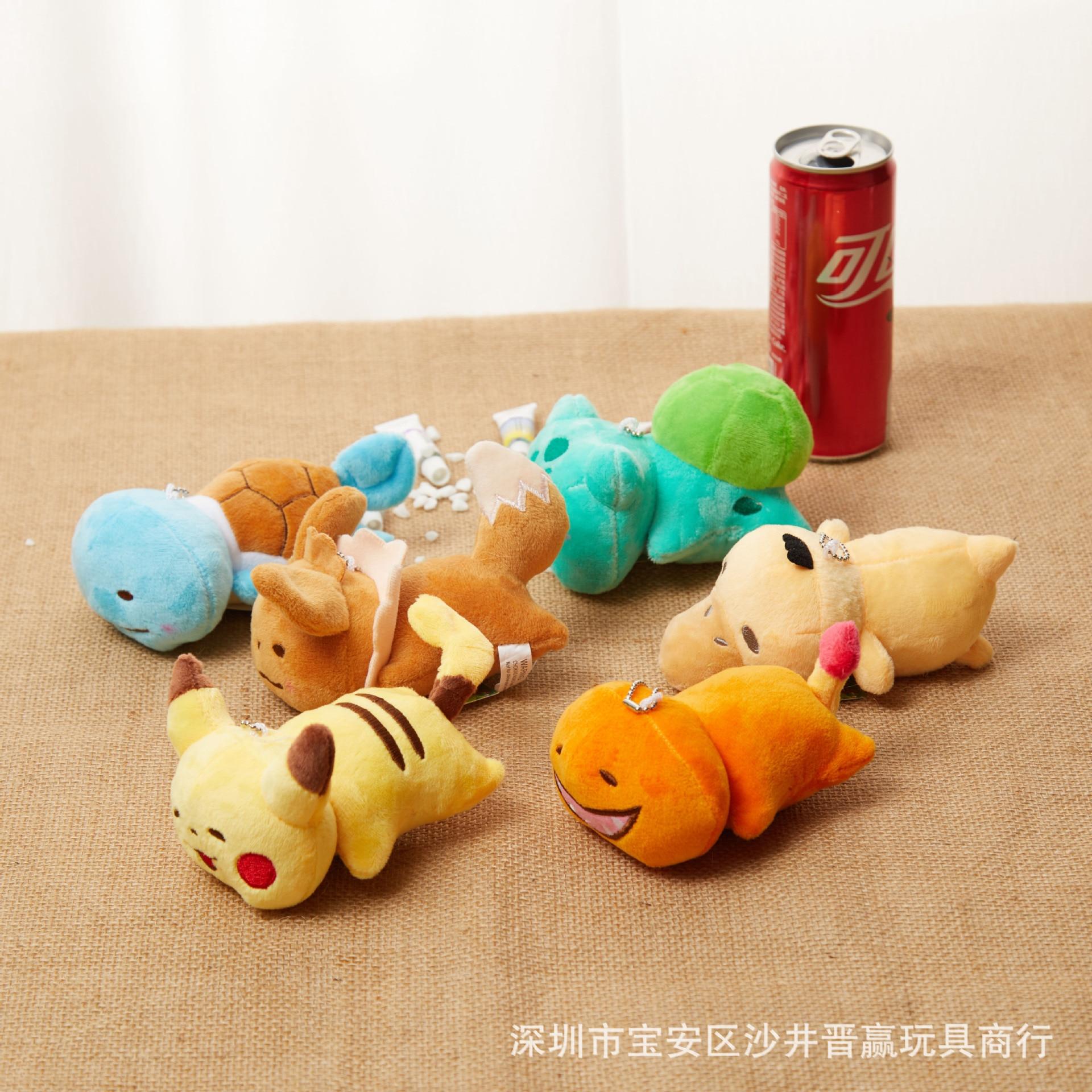 Pokemon 12cm Pocket Monster Keychain Pendant Pikachu Charmander Squirtle Bulbasaur Stuffed Plush Dolls Toy Gift Kid Children