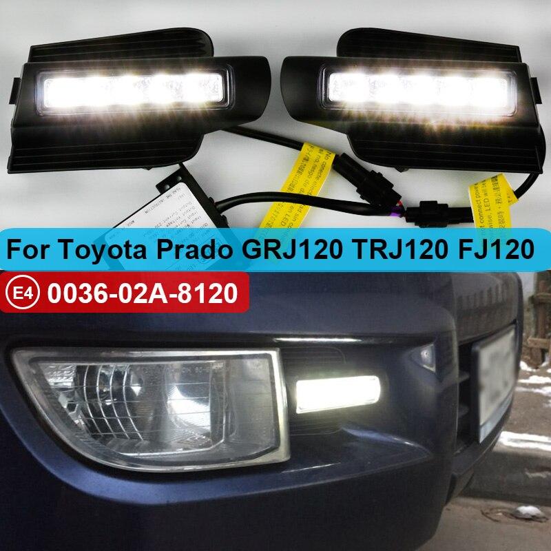 2pcs LED DRL For Toyota Land Cruiser Prado 120 GRJ120 TRJ120 FJ120 LC120 2003~2009 Daytime Running Light Fog Lamp Original Esuse