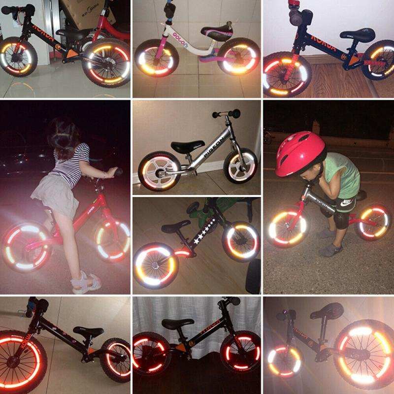 Applique Tape Children Balance Bicycle Bike Reflective Stickers Wheel Decals
