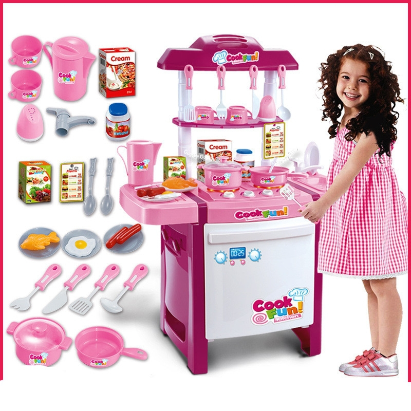 25 Kinds Tableware Fittings Arrival Child Classic Pretend Play Imitate Chef Light Kitchen Sets COOK FUN Game Girl Gift