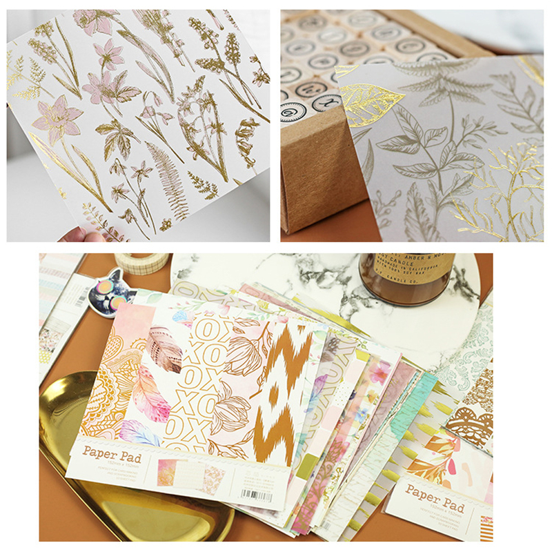 10pcs 6 Inch DIY Album Scrapbook Pads Paper Single-Sided Hand Account Card Making Background Pattern Craft Scrapbooking