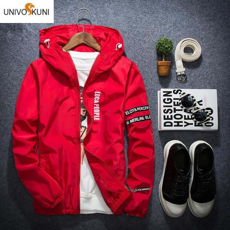 Spring Korean Style Thin Windbreaker Jacket Men Plus Size M-4XL Jaqueta Masculina Slim Fit Young Men Hooded Bomber Jacket Men