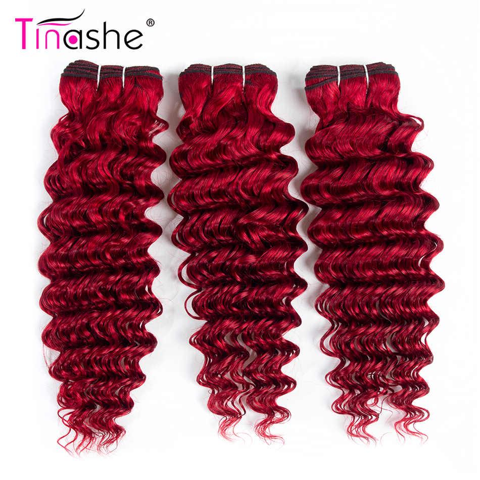 Tinashe Haar Rode Bundels Braziliaanse Haar Weefsel Bundels Remy Menselijk Haar Diepe Golf Bundels Gekleurde Bourgondië 3 Bundels