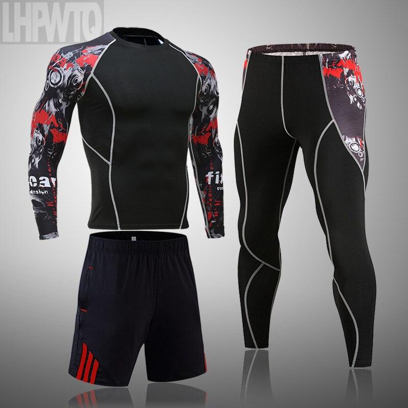 Männer Sport Anzug MMA rashgard männlichen Schnelle trocknung Sportswear Kompression Kleidung Fitness Training kit Thermische Unterwäsche leggings