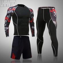 MMA rashgard – combinaison de sport pour hommes, séchage rapide, vêtements de sport, Compression, kit de Fitness, sous-vêtements thermiques, leggings