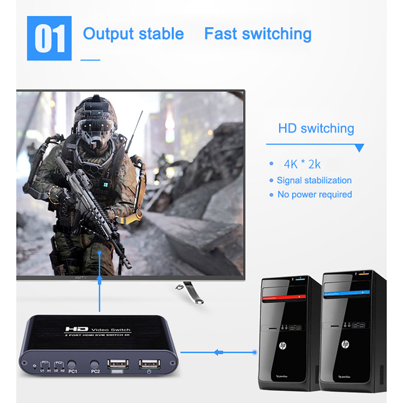 2 Port 4K USB HDMI KVM Switcher Video Display Hot Key Switch For PC Laptop VH99