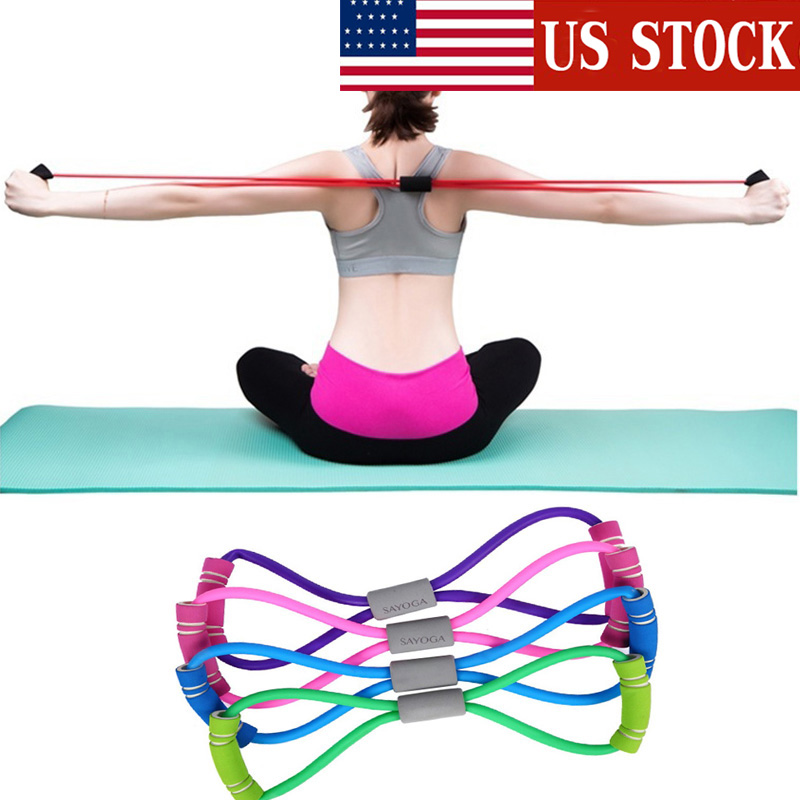 Yoga Fitness Resistance 8 Word Chest Expander Rope Workout Muscle Fitness Rubber Elastic Bands For Sports Exercise Indoor Sport