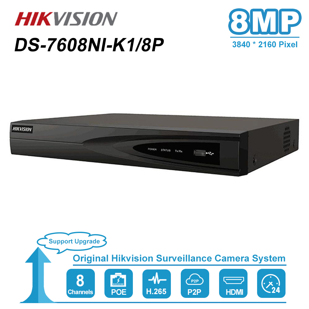 Hikvision 8-kanałowy rejestrator CCTV PoE nvr DS-7608NI-K1/8 P 8-kanałowy wbudowany Plug & Play 4K sieciowy rejestrator wideo z 8 portami PoE H.265