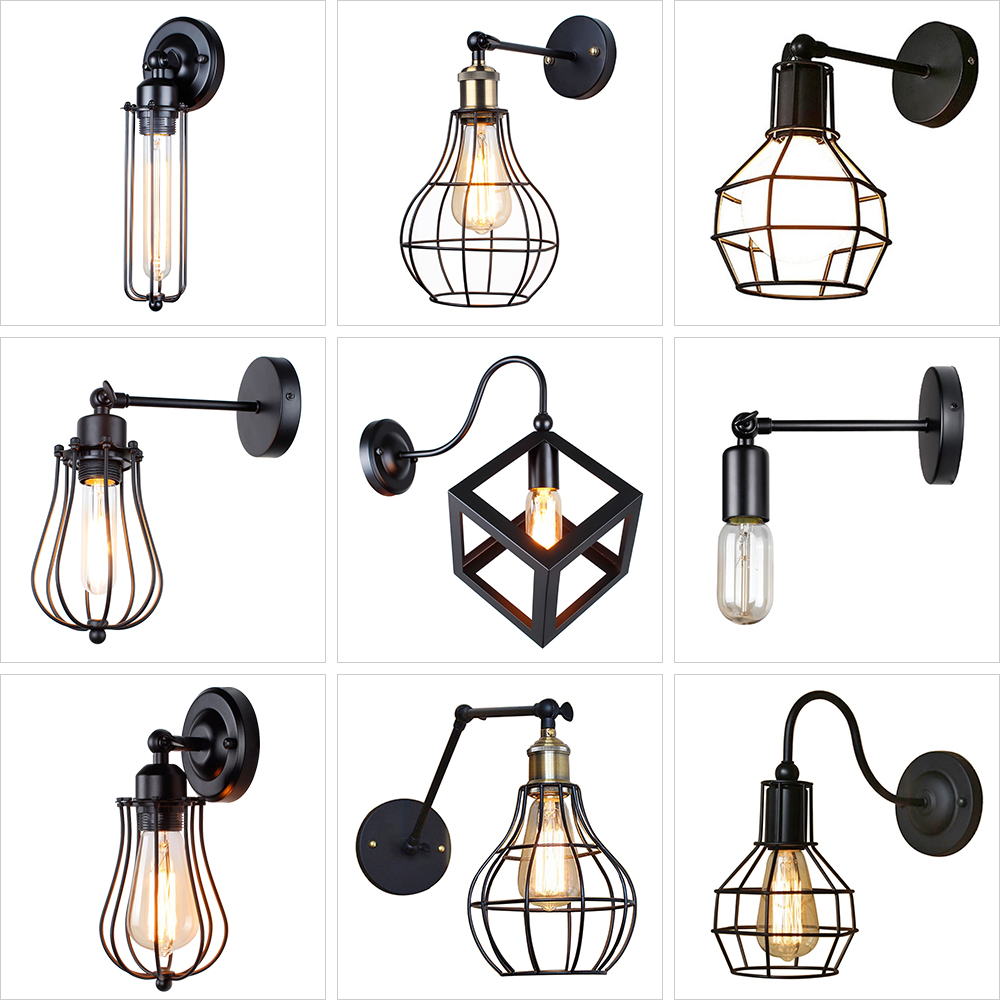 Vintage Industrial Wall Lamp,American Loft Wall Light,Simple Lampshade,E27, Cage Guard Sconce,for Corridor Restaurant Store