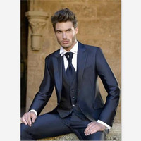 Blazer Masculino Mens Suits (Jacket+Pants+Vest) Dinner Party Prom Shinny Black Suits Groom Tuxedos Groomsmen Wedding Blazer