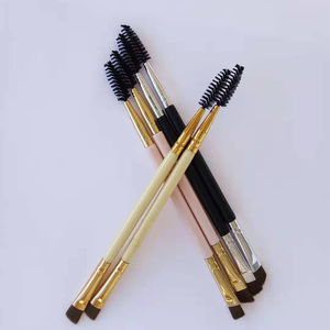 Image 5 - AMSIC 2 sztuk makijaż uchwyt pędzla brwi podwójna narzędzie do makijażu bambusowego pędzel kosmetyczny + grzebień do brwi podwójne
