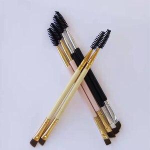 Image 5 - AMSIC 2 шт. Кисть для макияжа ручка для бровей двойной инструмент бамбуковая Косметическая кисть + гребень для бровей двойной