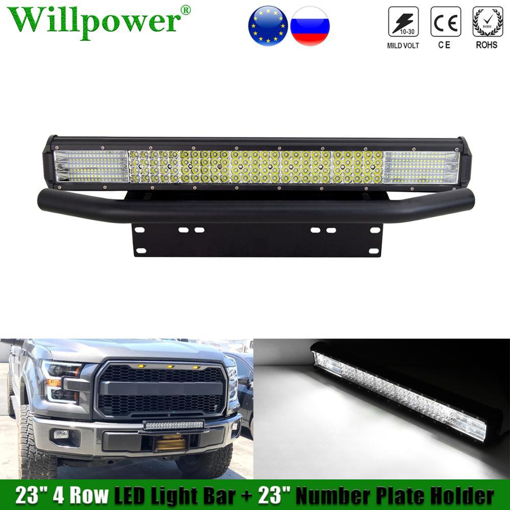 """SUV zderzak samochodu 23 """"LED światła przeciwmgielne Bar w/numer rejestracyjny uchwyt ramki Offroad 4x4 ciężarówka 4WD odbioru 4Row 23 w Lightbar uchwyt mocujący"""